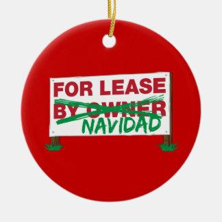 For Lease Navidad - Feliz Navidad Funny Christmas Double-Sided Ceramic Round Christmas Ornament