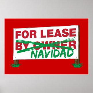 For Lease Navidad - Feliz Navidad Funny Christmas Poster