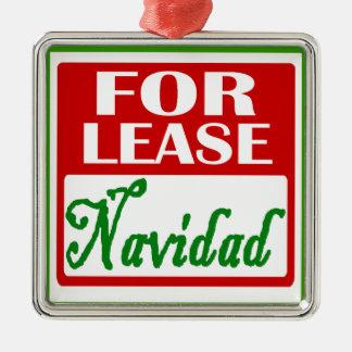 For Lease: Navidad late Square Metal Christmas Ornament