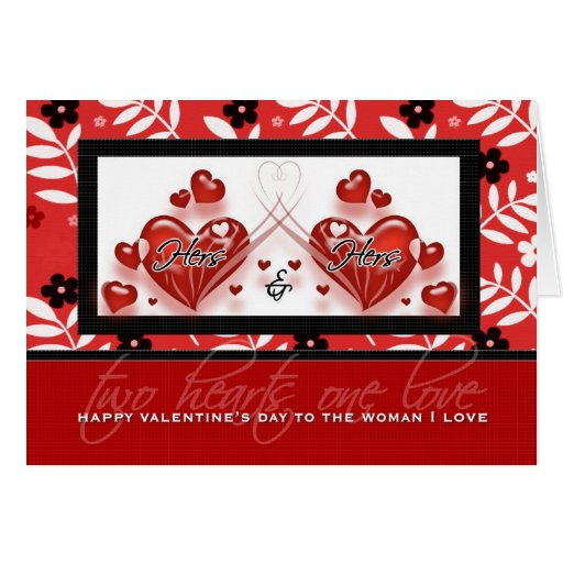 For Lesbian Partner on Valentine's Day Red Hearts Greeting Card