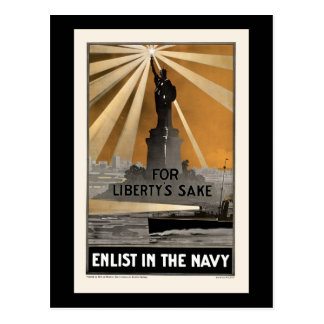 For Liberty s Sake Enlist In The Navy Postcard