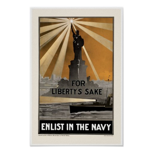 For Liberty's Sake ~ Enlist in the Navy Print