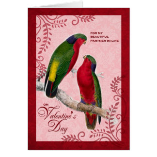 For Life Partner on Valentine's Day Lorikeet Parro Card