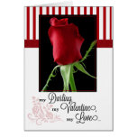 for Life Partner on Valentine's Day Red Rose Greeting Card