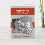 "For men Husband red & grey Birthday photo greeting Card<br><div class=""desc"">Personalize this Birthday Card for your Husband. Designed in grey and red with grey and white polka dots,  red stars and hearts. Replace the photo with your own,  add his name,   and change the text to suit.  **Samplephotos©Lynnrosedesigns**</div>"