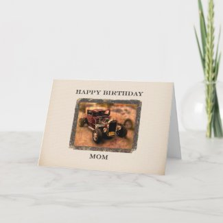 For Mom Classic Car Themed Birthday Card