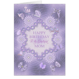 For mom, dreamy lilac birthday card with flowers