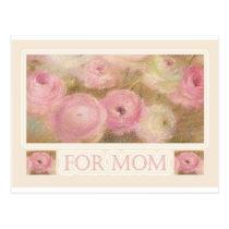 for mom illustrated pink florals postcard