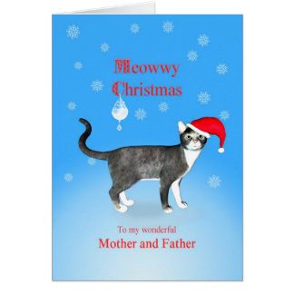 For mother and father, Meowwy Christmas cat Card