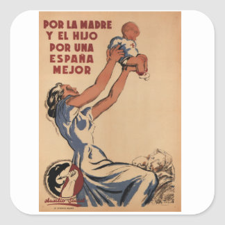 For mother and son, a better_Propaganda Poster Square Sticker