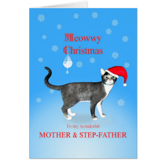 For mother and stepfather Meowwy Christmas cat Card