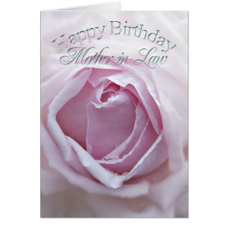 For mother-in-law,  Birthday card with a pink rose