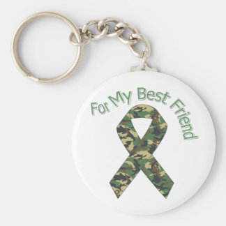 For My Best Friend Military  Ribbon Basic Round Button Keychain