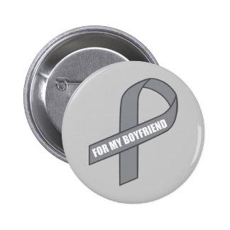 For My Boyfriend (Gray / Silver Awareness Ribbon) Button