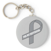For My Boyfriend (Gray / Silver Awareness Ribbon) Keychain