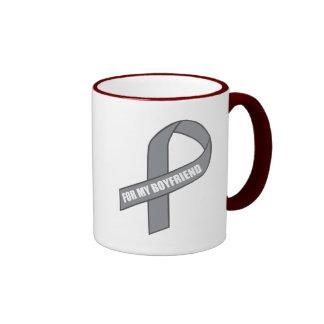 For My Boyfriend Gray Silver Awareness Ribbon Coffee Mugs