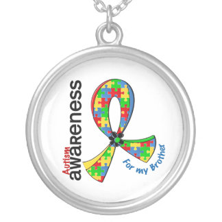 For My Brother Autism Silver Plated Necklace