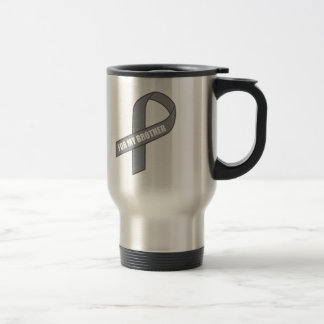 For My Brother Gray Silver Awareness Ribbon Mugs