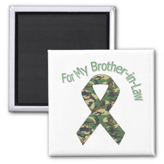 For My Brother-in-Law Military  Ribbon 2 Inch Square Magnet