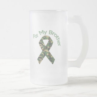 For My Brother Military  Ribbon Frosted Glass Beer Mug