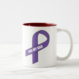 For My Dad (Purple Ribbon) Two-Tone Coffee Mug