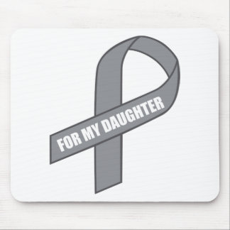 For My Daughter (Gray / Silver Awareness Ribbon) Mousepads