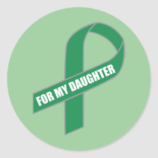 For My Daughter (Green Ribbon) Round Stickers