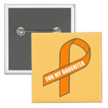 For My Daughter (Orange Ribbon) 2 Inch Square Button