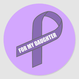 For My Daughter (Purple Ribbon) Round Sticker