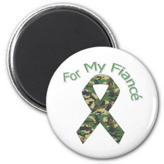 For My Fiancé Military Ribbon 2 Inch Round Magnet