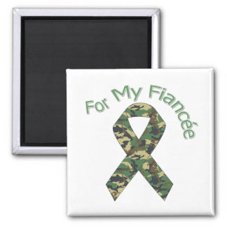 For My Fiancée Military  Ribbon 2 Inch Square Magnet