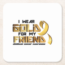 For My Friend Childhood Cancer Awareness Square Paper Coaster