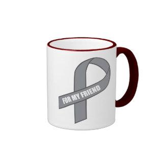For My Friend Gray Silver Awareness Ribbon Mugs