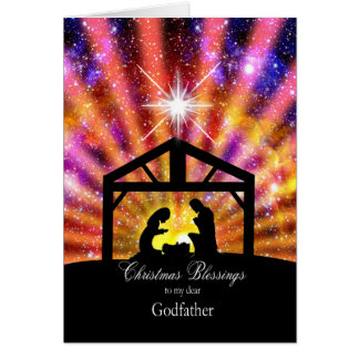 For my godfather Nativity at sunset Christmas Card