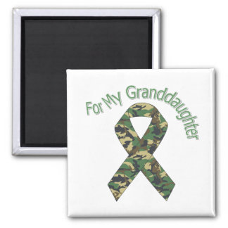 For My Granddaughter Military Ribbon 2 Inch Square Magnet