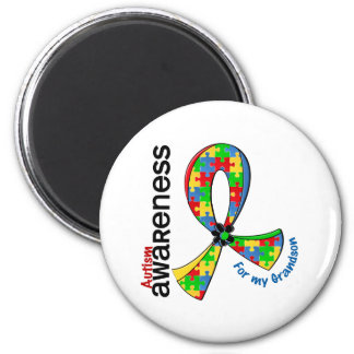 For My Grandson Autism 2 Inch Round Magnet