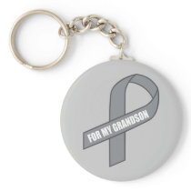 For My Grandson (Gray / Silver Awareness) Keychain