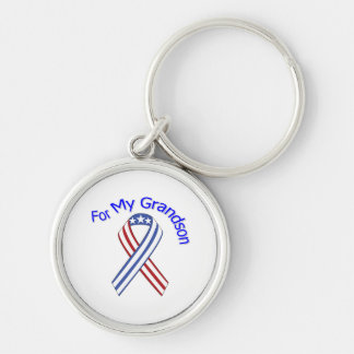For My Grandson Military Patriotic Silver-Colored Round Keychain
