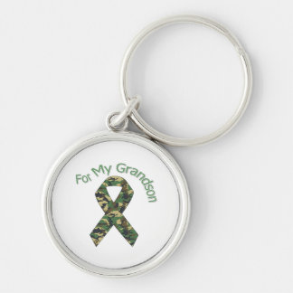 For My Grandson Military Ribbon Silver-Colored Round Keychain