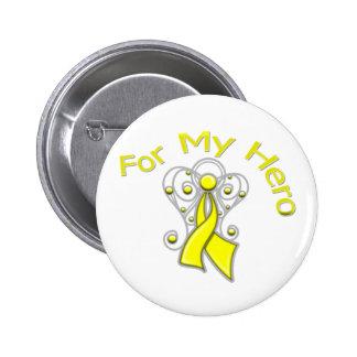 For My Hero Angel Ribbon Bladder Cancer 2 Inch Round Button