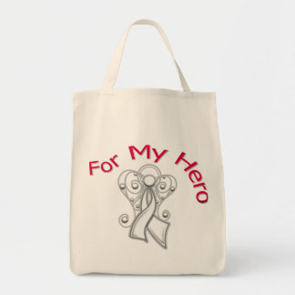 For My Hero Angel Ribbon Bone Cancer Grocery Tote Bag
