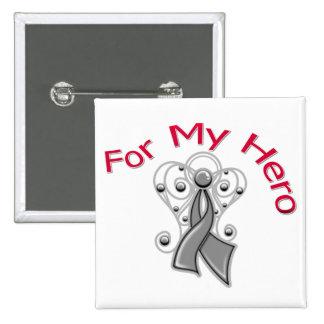 For My Hero Angel Ribbon Brain Cancer Pins
