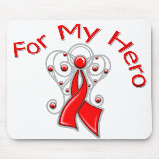 For My Hero Angel Ribbon Heart Disease Mouse Pad