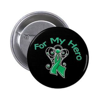 For My Hero Angel Ribbon Liver Cancer Buttons