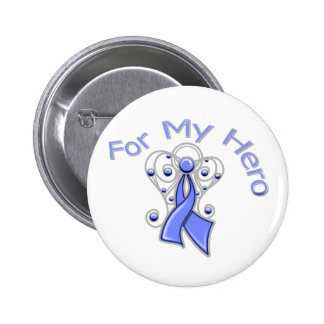 For My Hero Angel Ribbon Stomach Cancer Buttons
