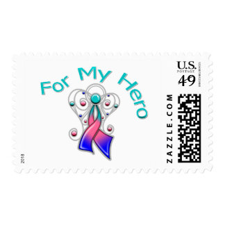 For My Hero Angel Ribbon Thyroid Cancer Postage