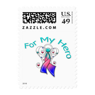 For My Hero Angel Ribbon Thyroid Cancer Postage Stamps