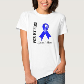 For My Hero Blue Awareness Ribbon Tee Shirt