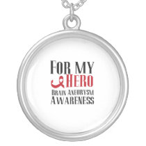 For My Hero Brain Aneurysm Awareness Gift Silver Plated Necklace