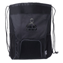 For My Hero Brain Cancer Awareness Gift Drawstring Backpack